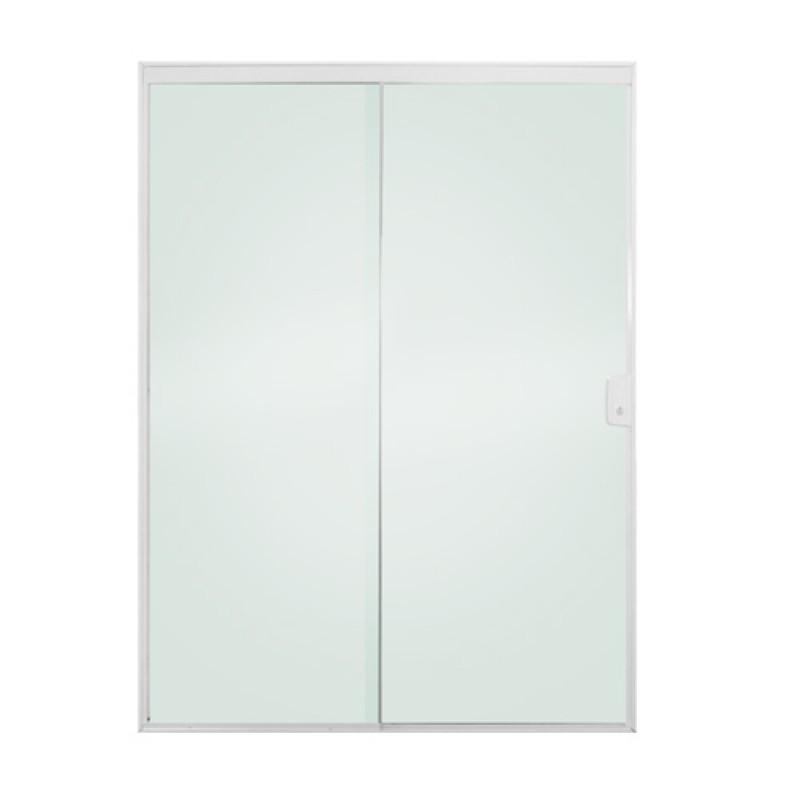 Porta de correr 2 folhas vidro incolor acabamento aluminio for Porta 4 folhas de vidro temperado