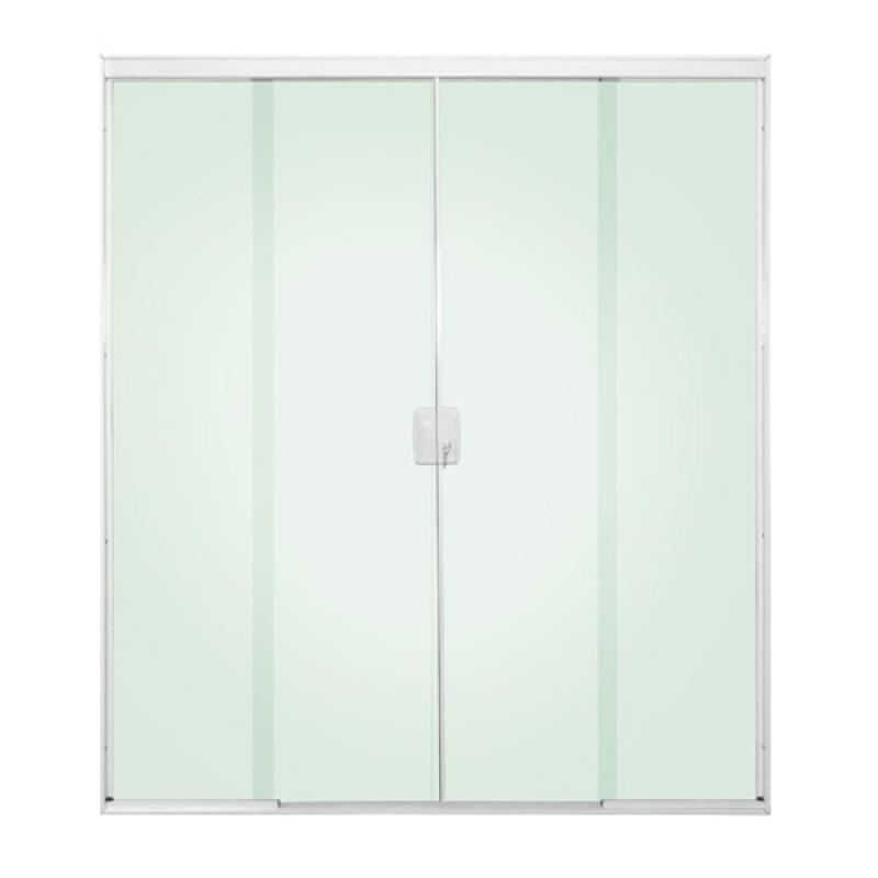 Porta de correr 4 folhas vidro incolor acabamento aluminio for Porta 4 folhas de vidro temperado